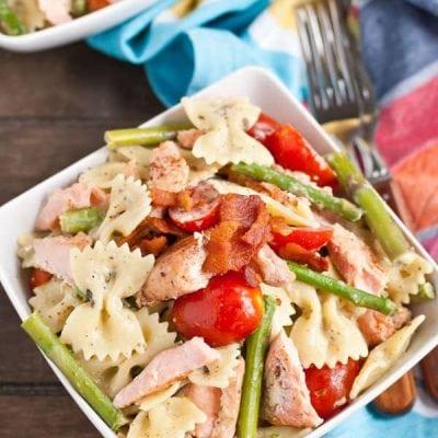 Creamy Salmon Pesto Pasta via NeighborFoodblog.com