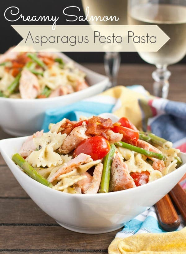 Creamy Salmon Asparagus Pesto Pasta is the perfect 30 minute spring meal!