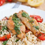 White Fish and Couscous with Cilantro Lemon Sauce