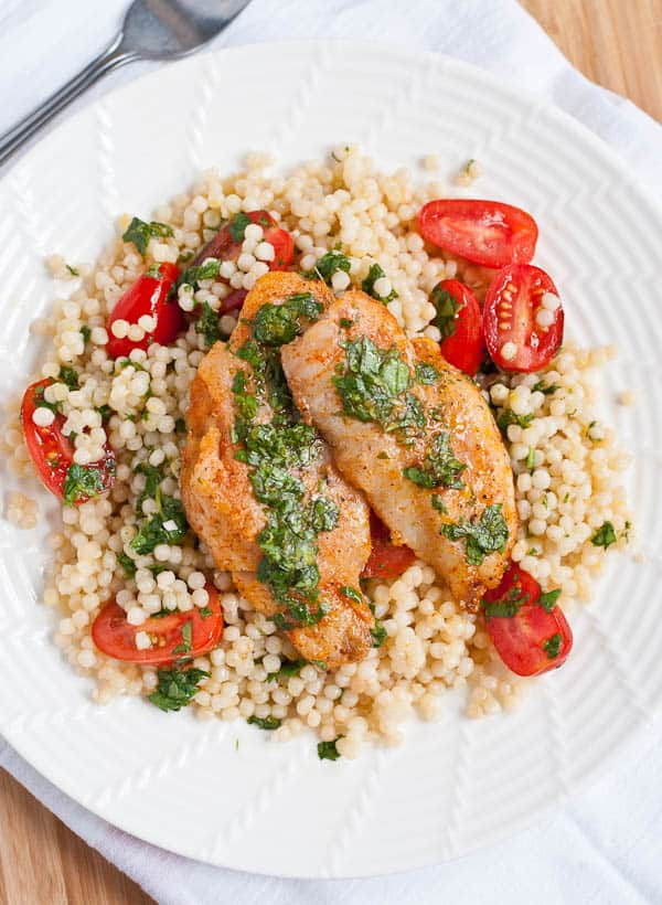 White Fish with Couscous in Cilantro Lemon Sauce via NeighborFood | neighborfoodblog.com