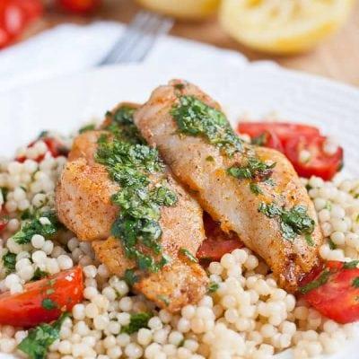White Fish with Couscous in Cilantro Lemon Sauce via NeighborFood