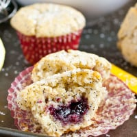 Lemon Poppyseed Muffins filled with Raspberry Jam | NeighborFoodBlog.com