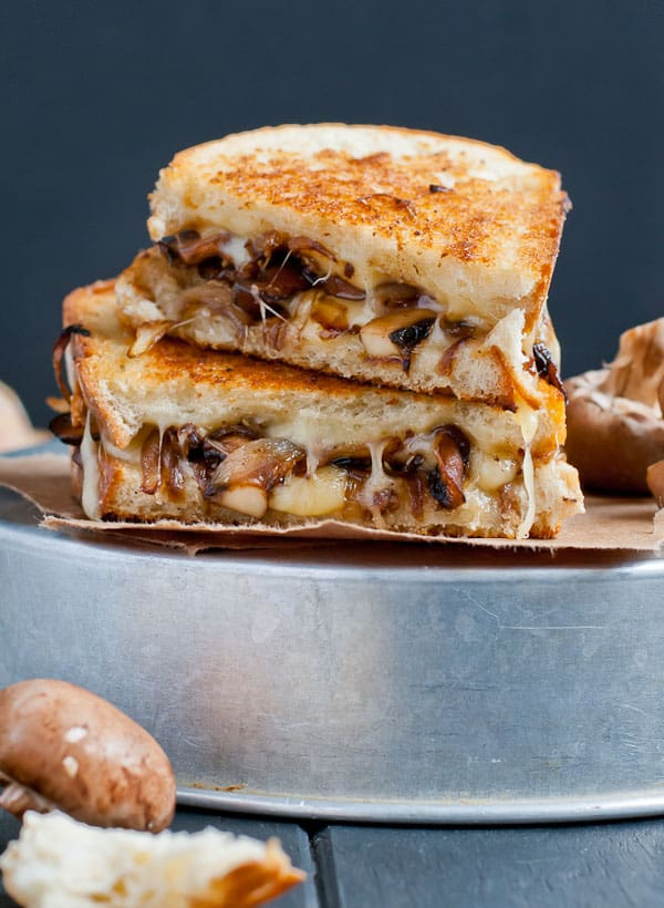 Sauteed Mushrooms and Swiss Grilled Cheese from NeighborFoodBlog.com