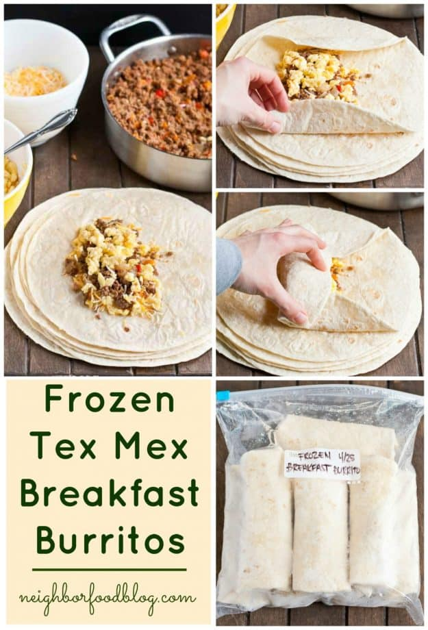 Frozen Mexican Breakfast Burritos are a convenient make ahead option to get a protein packed breakfast.