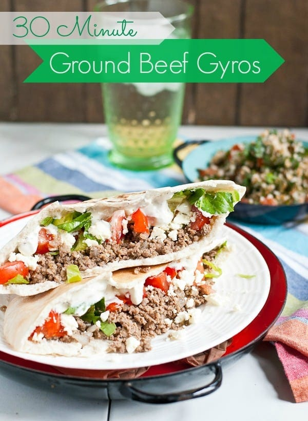 These Easy 30 Minute Ground Beef Gyros are such a tasty, filling, and cheap weeknight meal!