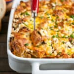 Sausage, Goat Cheese, and Chive Bagel Strata