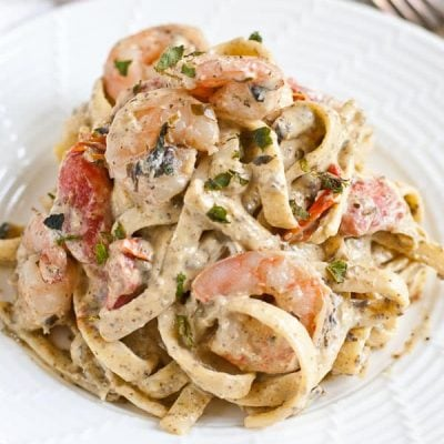 Creamy 30 Minute Shrimp Pesto Fettuccine from NeighborFoodBlog.com