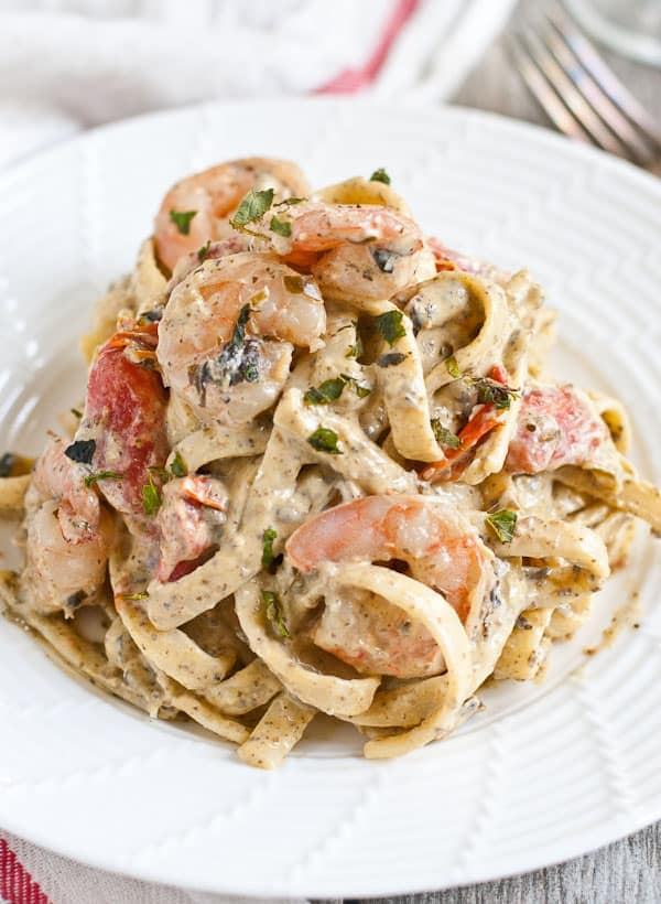 30 Minute Shrimp Pesto Fettuccine