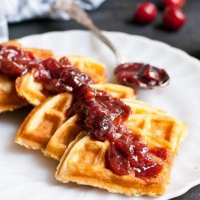 Crispy Buttermilk Waffles with Cherry Compote from NeighborFoodBlog.com