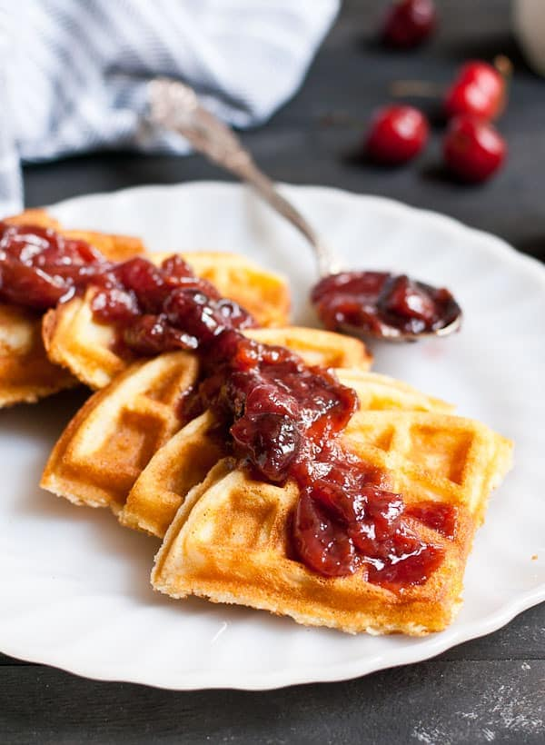 Crispy Vanilla Bean Waffles with Cherry Compote
