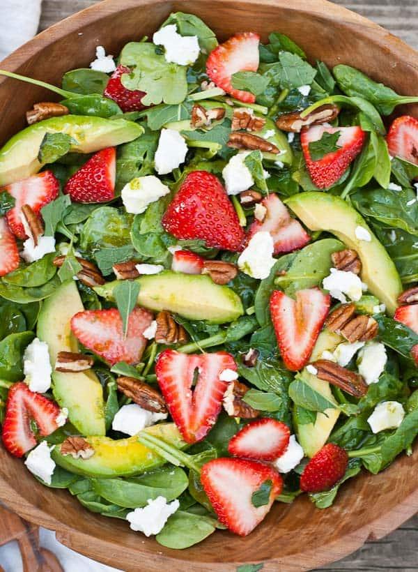 Strawberry Goat Cheese Spinach Salad via NeighborFoodBlog.com