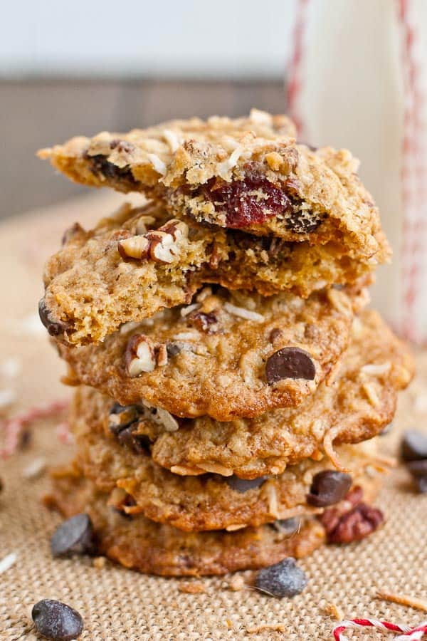 Toasted Coconut, Pecan, and Cherry Chocolate Chip Cookies from NeighborFoodBlog.com