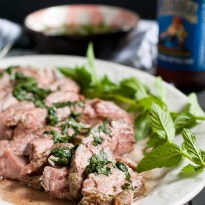 Grilled Leg of Lamb with Mint Sauce- No need to wait for a special occasion to enjoy lamb! This recipe cooks up quickly on the grill!