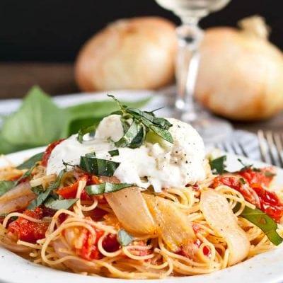 Roasted Tomatoes and Onion Pasta with Burrata via NeighborFoodBlog.com