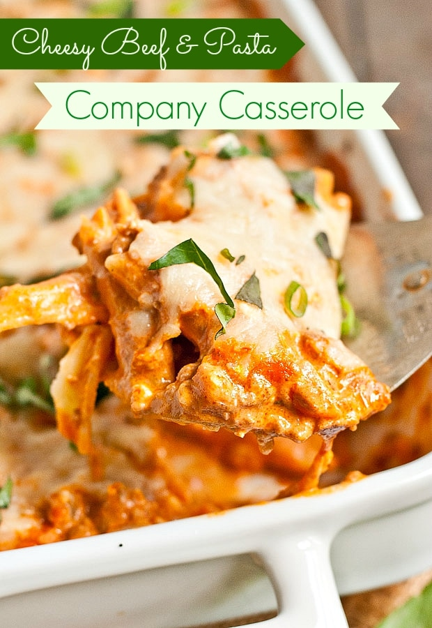 This easy, cheesy Company Casserole is loaded with ground beef and pasta in a creamy tomato sauce. Always a crowd pleaser!