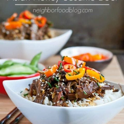 Let your crock pot do all the work with this easy Asian Honey Sesame Beef. Sweet, savory, and loaded with vegetables it's the perfect weeknight meal!