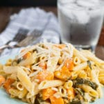 Creamy One Pan Sweet Potato, Kale, and Leek Pasta