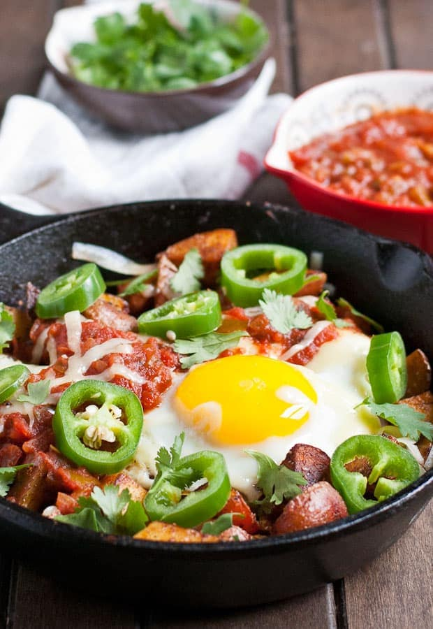 Crispy Potato Huevos Rancheros is a hearty breakfast everyone loves.