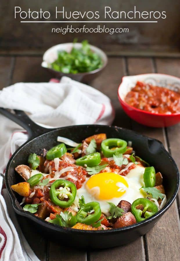 Crispy pan fried potatoes are paired with runny eggs, salsa, and cilantro for a killer breakfast or brinner dish.