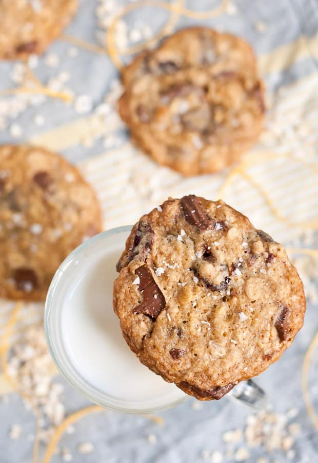 Sweet and salty, these Milk Chocolate Cherry Oatmeal Cookies are the perfect fall cookie!