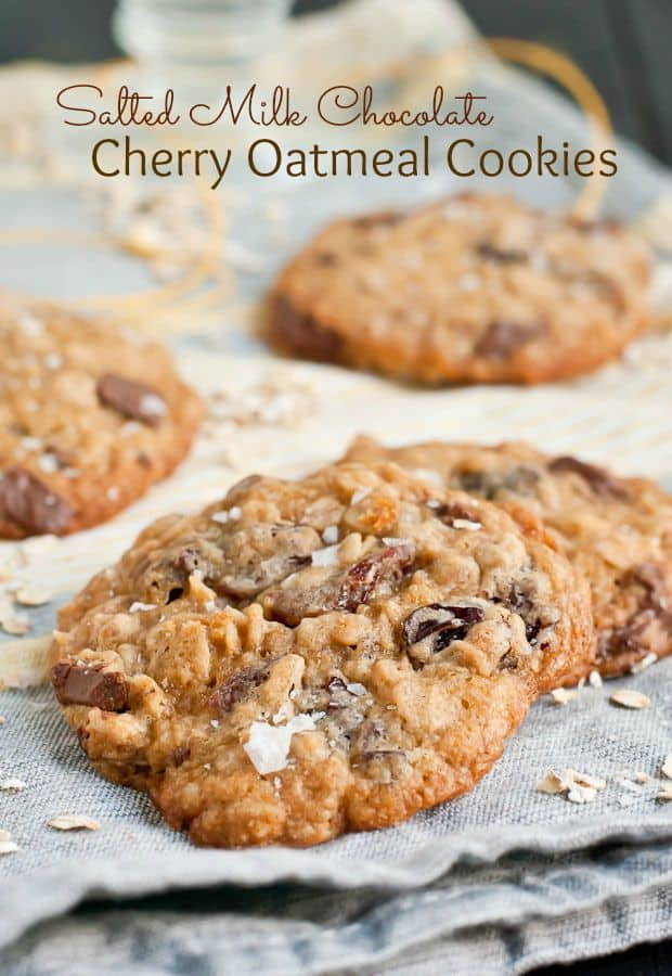 These Salted Milk Chocolate Cherry Oatmeal Cookies are soft, chewy, and totally irresistible!