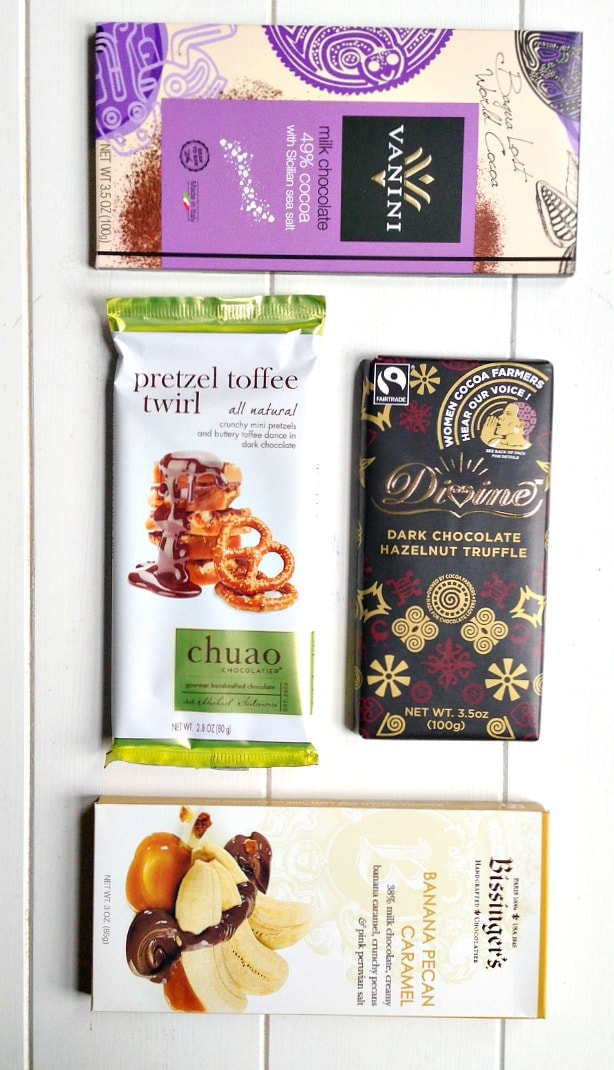 Here are a few of the many wonderful fair trade and ethically sourced chocolate bars you can buy in stores!