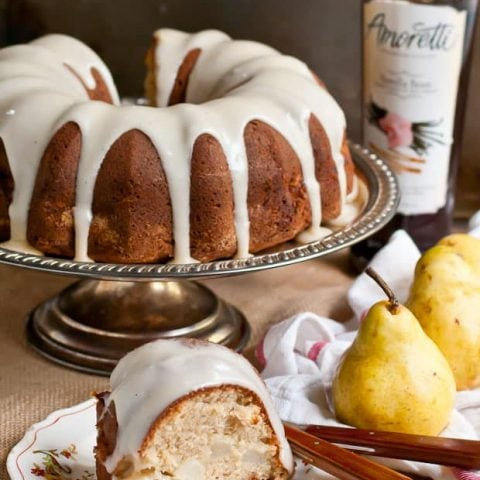 Cinnamon Pear Bundt Cake with Vanilla Brown Butter Glaze