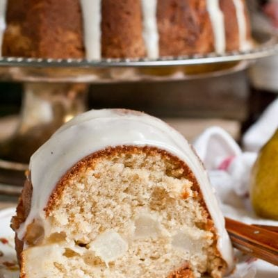 Pear Bundt Cake with Brown Butter Glaze is the perfect fall dessert!