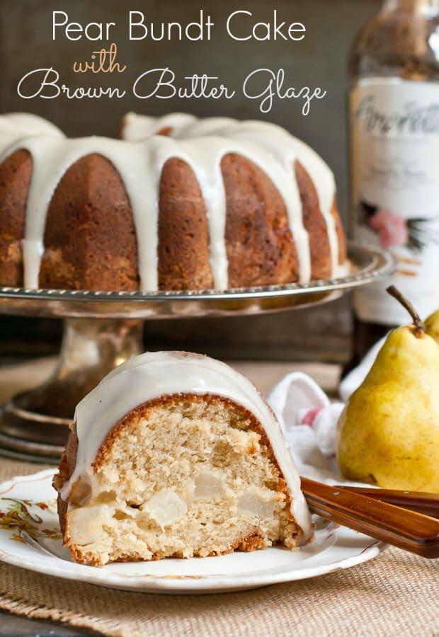 This Pear Bundt Cake with Brown Butter Glaze is the perfect fall dessert. Save it for Thanksgiving!