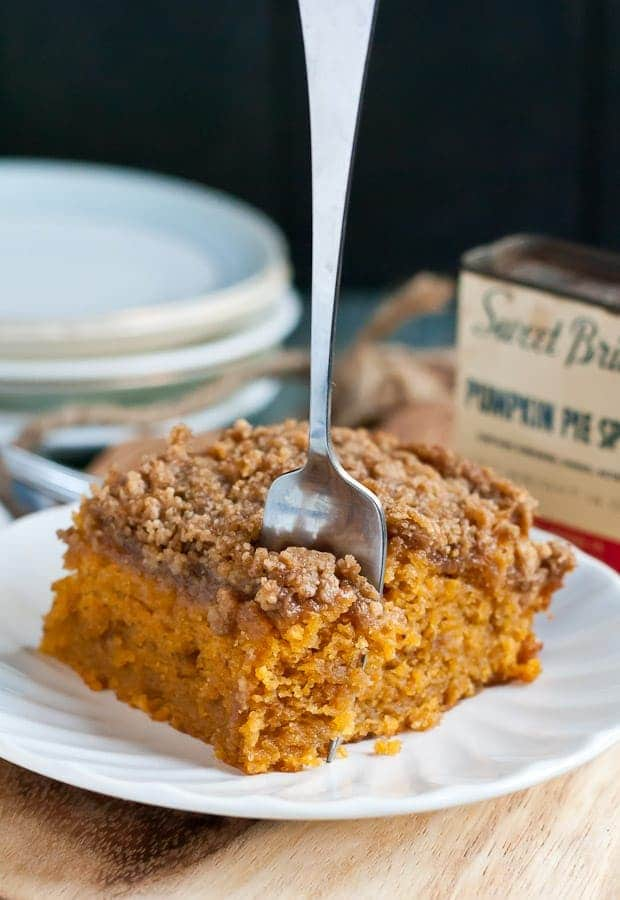 This Pumpkin Crumb Cake is spiced with cinnamon, nutmeg, ginger, and cloves. It's the perfect breakfast for a fall day.