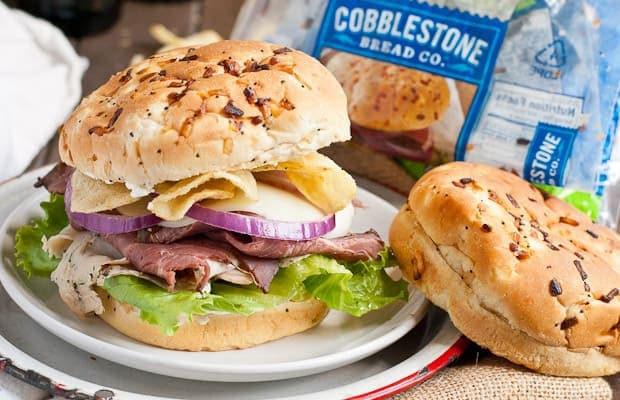 Roast beef, turkey, cream cheese, and salt and vinegar chips make this one amazing sandwich!