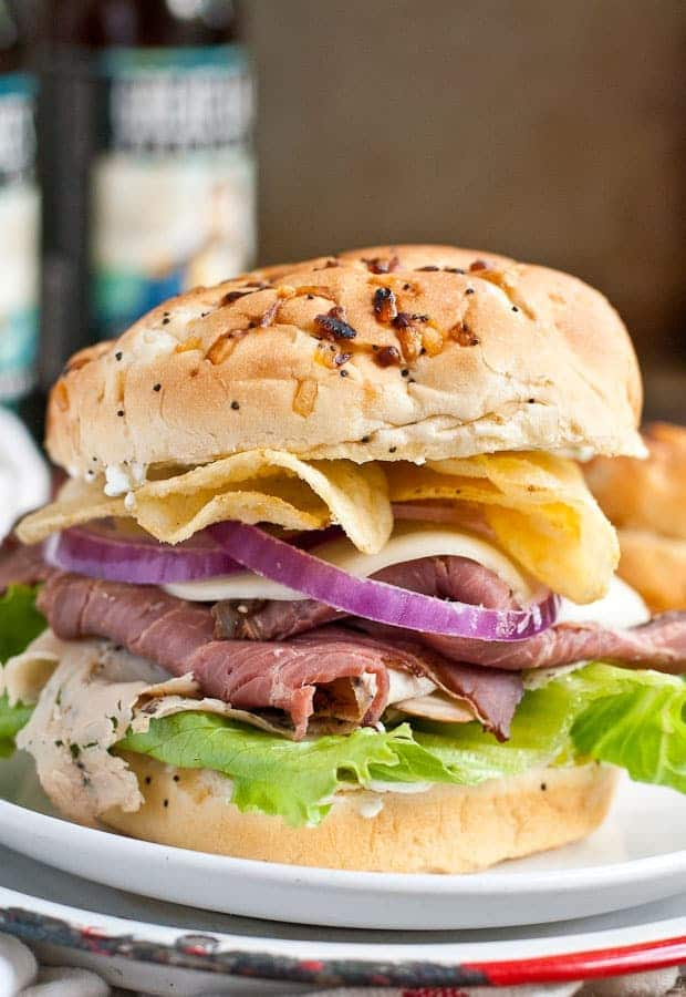 Salt and Vinegar Chips take these Roast Beef and Turkey Sandwiches over the top!