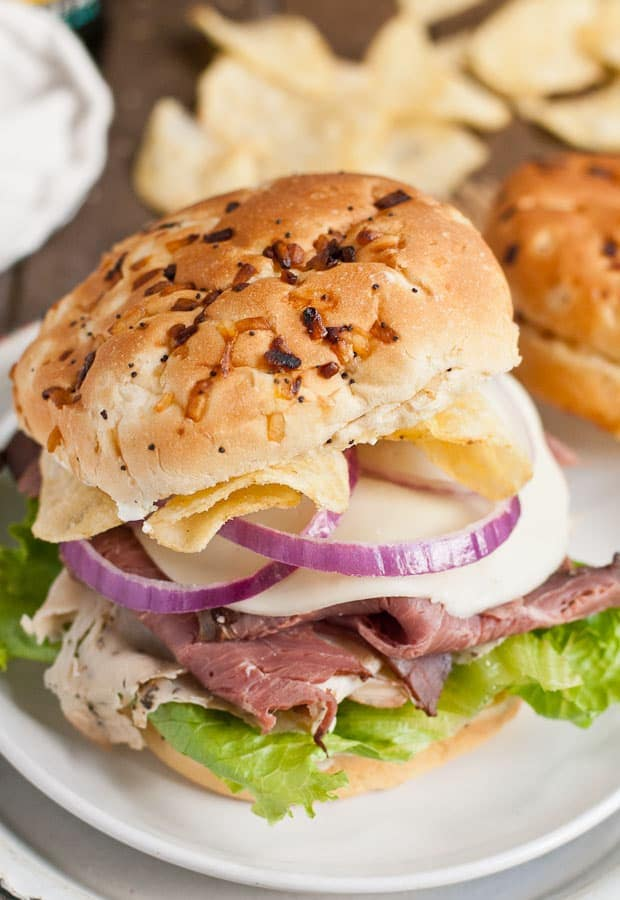 Roast Beef and Turkey Sandwiches get a special touch from salt and vinegar chips.