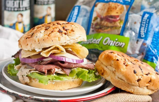 A Roast Beef and Turkey Sandwiches on a Toasted Onion Roll...a great tailgating sandwich!