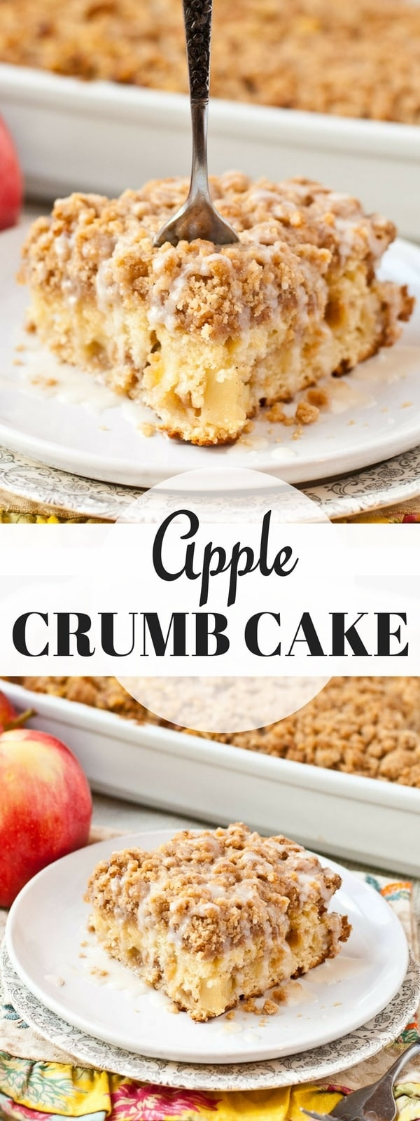 This Apple Crumb Coffee Cake is dotted with apples and an amazing crumb topping for a great fall dessert or breakfast!