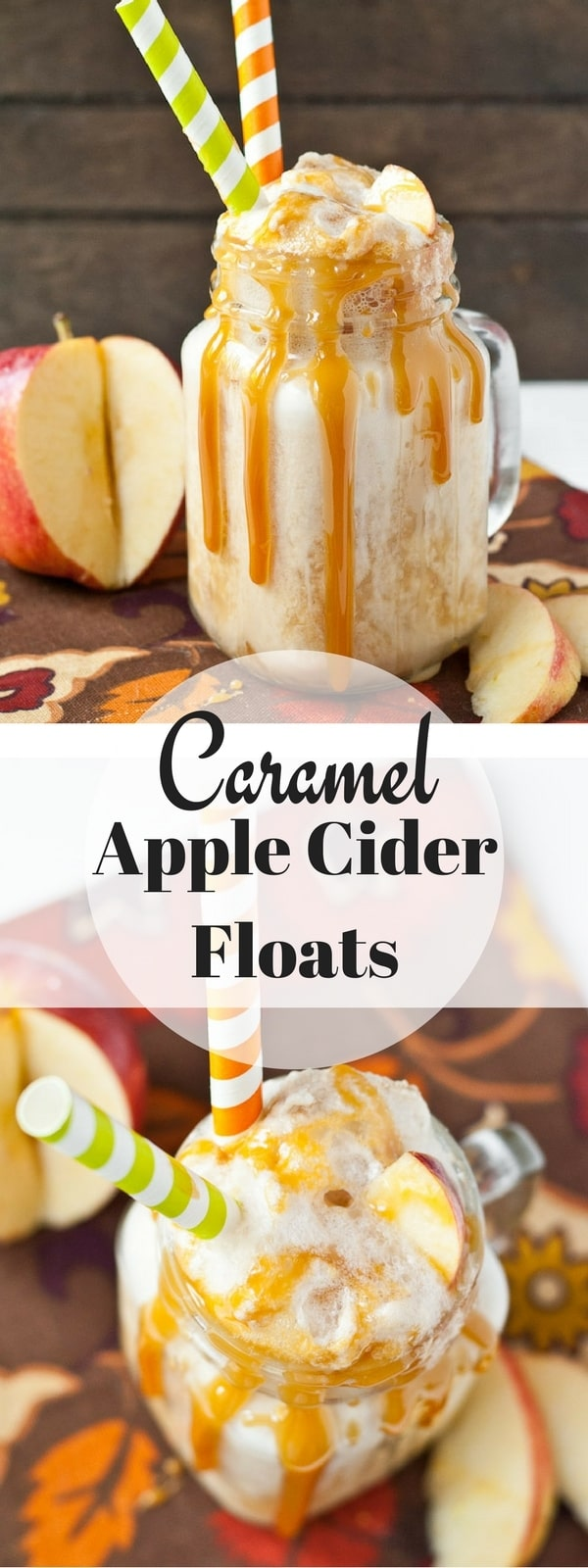 These Caramel Apple Cider Floats will blow your mind! This is my favorite easy fall dessert!