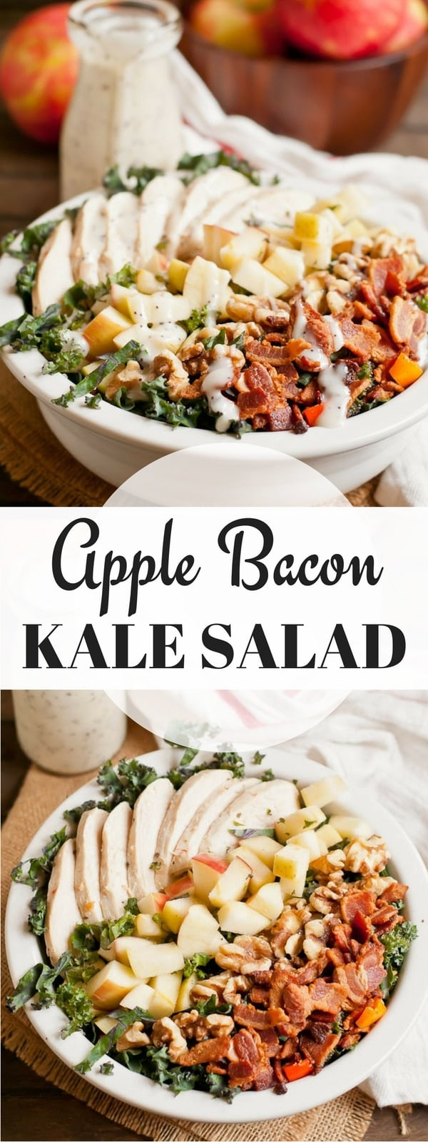 This hearty Chicken Apple Bacon Kale Salad is the perfect fall salad!