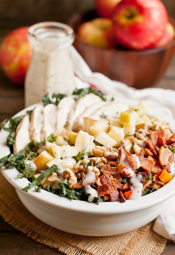 Think a salad can't fill you up? This Chicken Bacon Apple Kale Salad wants to prove you wrong!