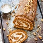 Gingerbread Roll Cake with Eggnog Cream Filling