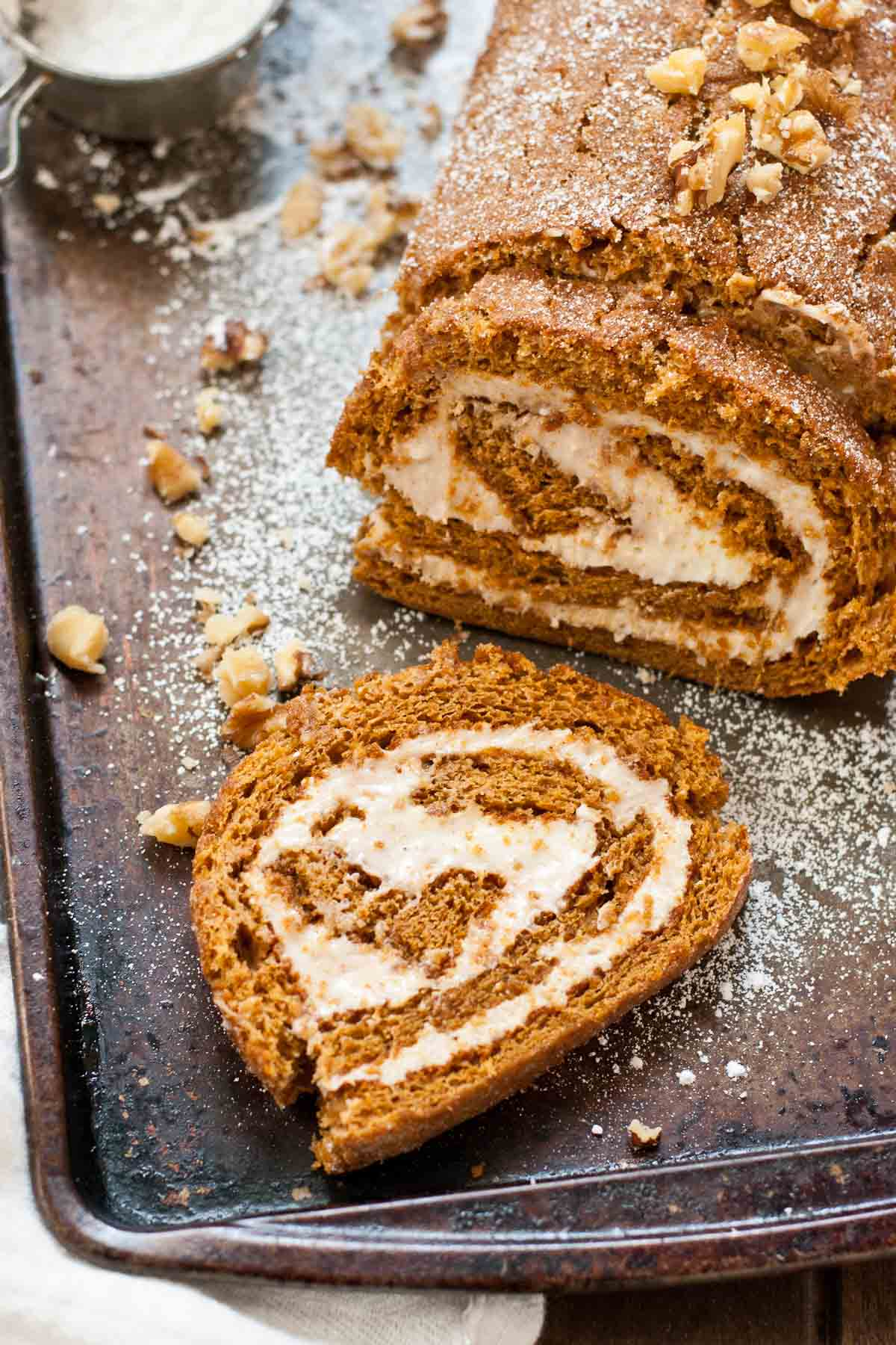 Gingerbread Cake Roll with Eggnog Cream Cheese Filling--a great make-ahead dessert for the holidays!