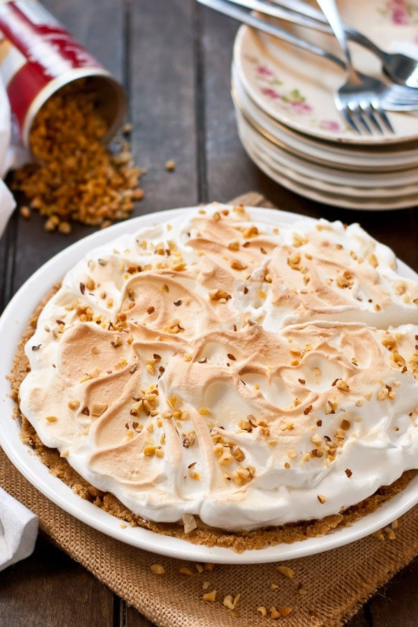 Make this No Bake Peanut Butter Meringue Pie the star of your holiday dessert table!