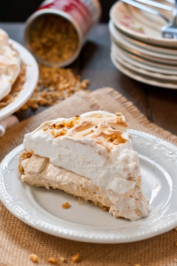 This No Bake Peanut Butter Meringue Pie is a beautiful Thanksgiving dessert.