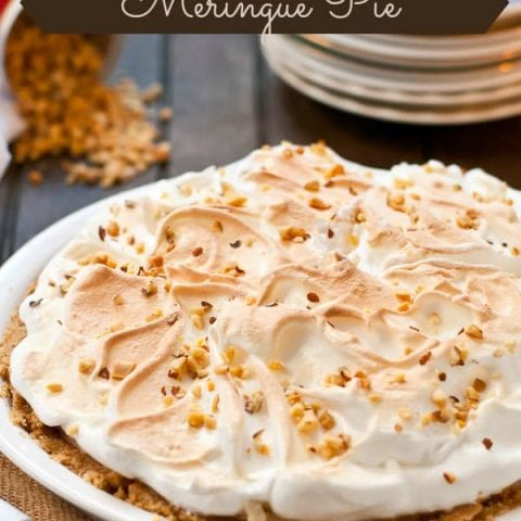 This gorgeous Peanut Butter Meringue Pie is the perfect no bake dessert for the holidays.