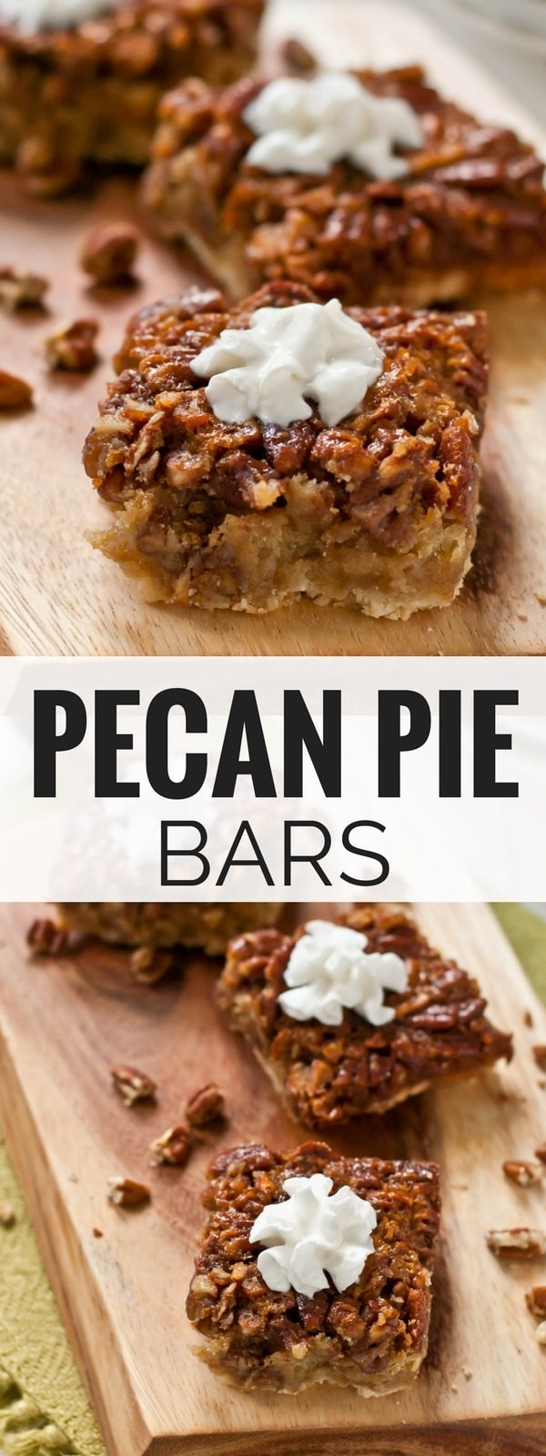 These Pecan Pie Bars give you all the taste of a gooey pecan pie with half the work!