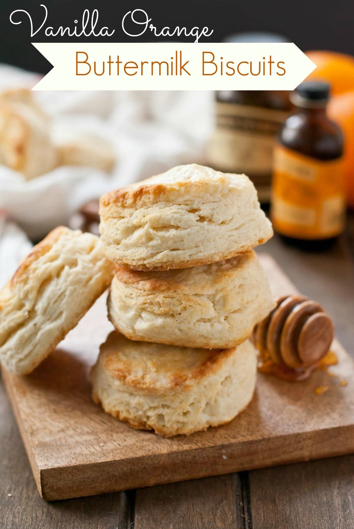 These Vanilla Orange Buttermilk Biscuits are so tender and flaky thanks to a special trick!