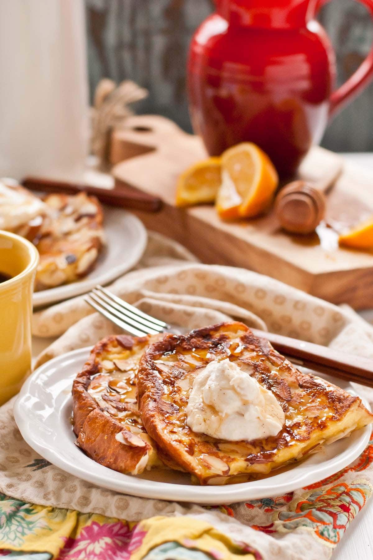 Almond Crusted French Toast with Honey Orange Whipped Ricotta--perfect Christmas morning breakfast!