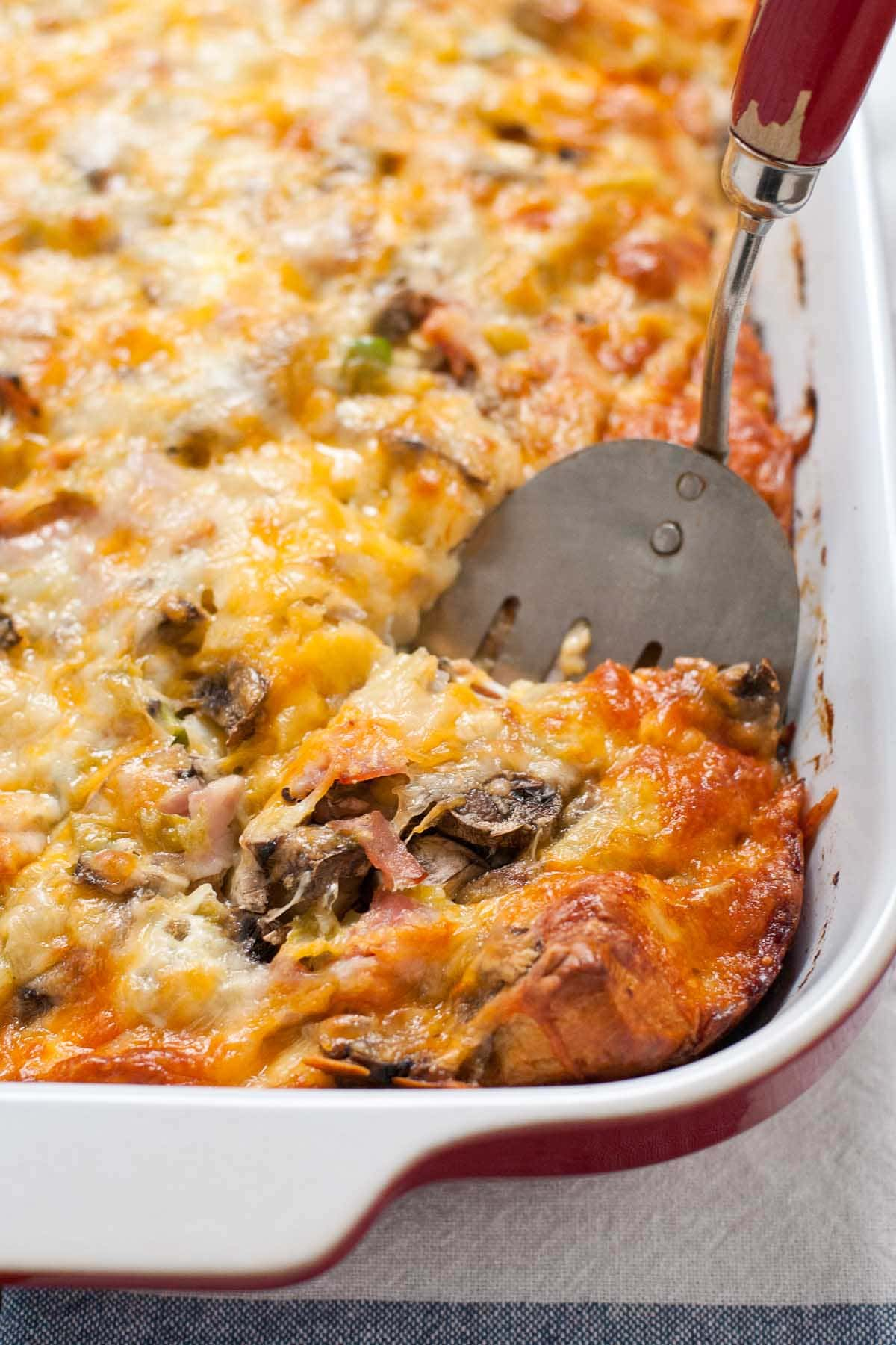 Bubble Up Ham and Cheese Biscuit Breakfast Casserole