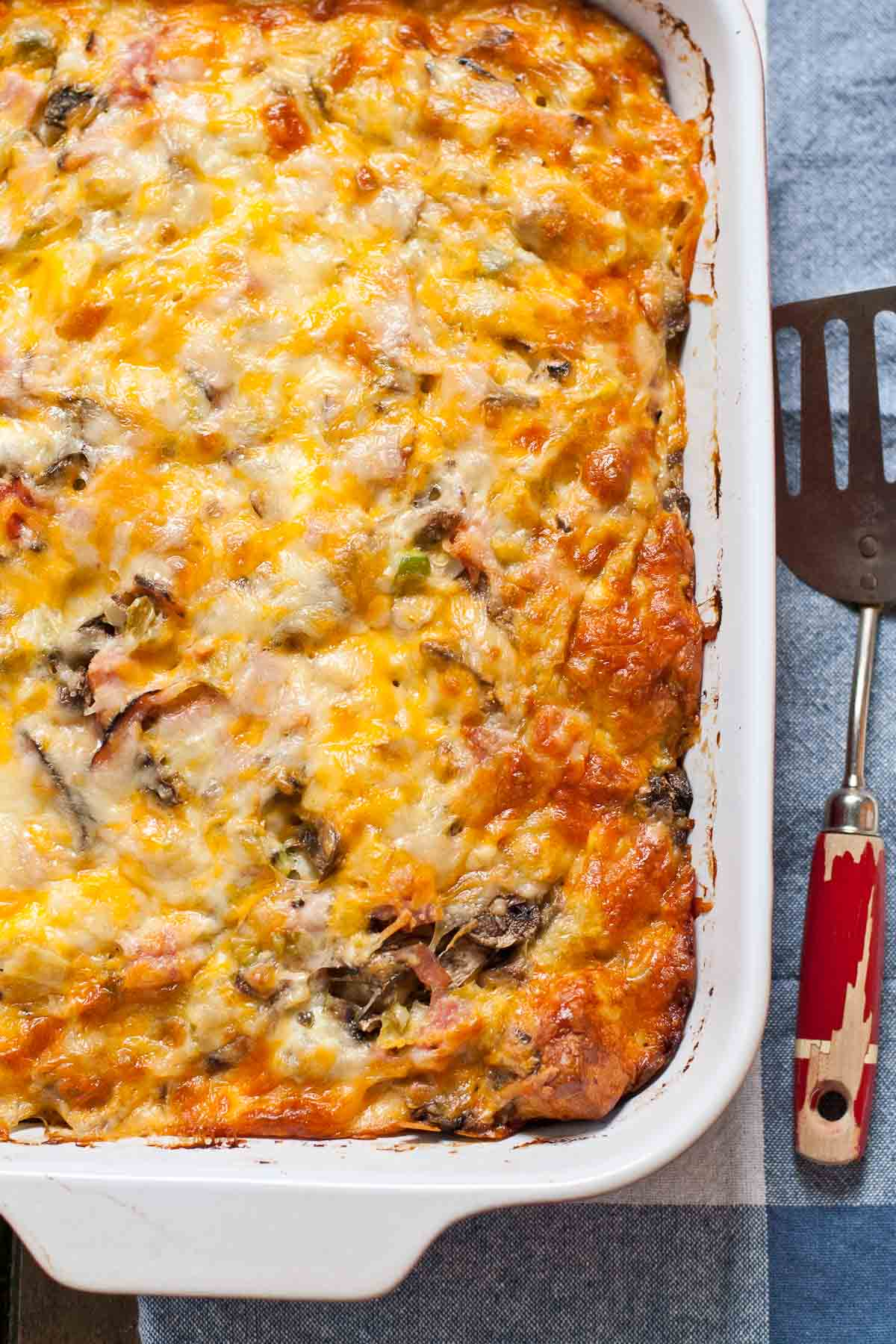 This Ham and Cheese Bubble Up Breakfast Casserole is the perfect breakfast to feed a crowd!