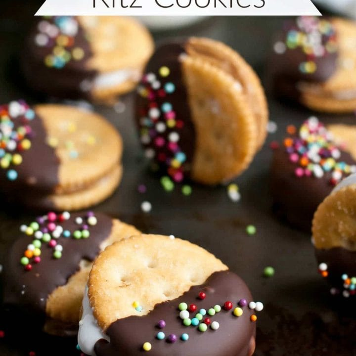 These Chocolate Dipped Ritz Cookies stuffed with peanut butter and marshmallow are so easy to make and a huge hit at parties!