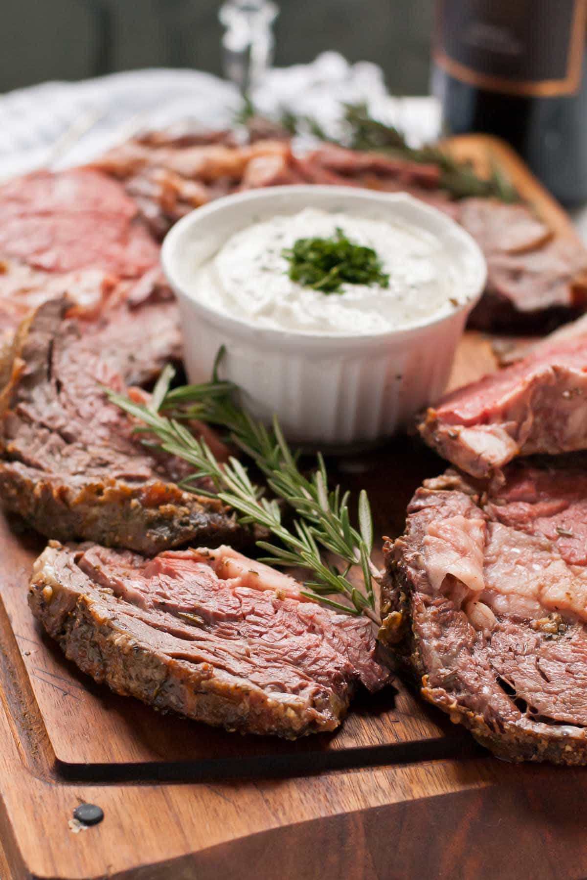 Simple Garlic Rosemary Prime Rib Roast with Horseradish Cream